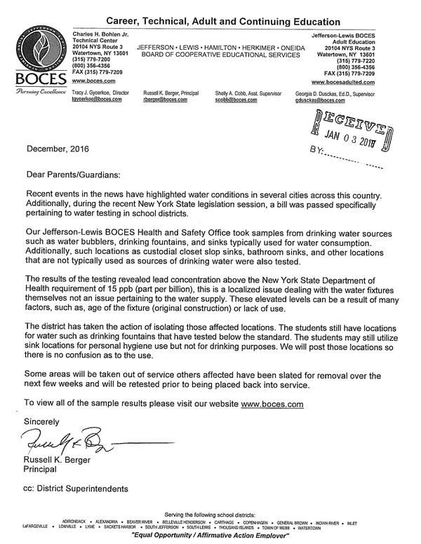 BOCES Water Testing Notice